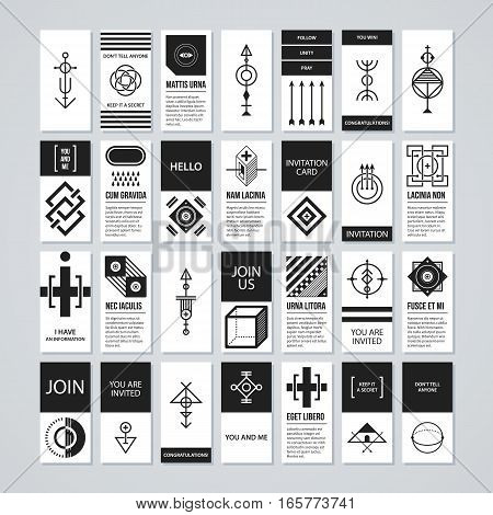 Collection Of Cards With Abstract Esoteric Elements. Useful For Presentations And Advertising.