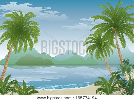 Tropical Landscape, Palm Tree on Ocean Beach, Yucca Flowers, Mountains and Clouds. Eps10, Contains Transparencies. Vector