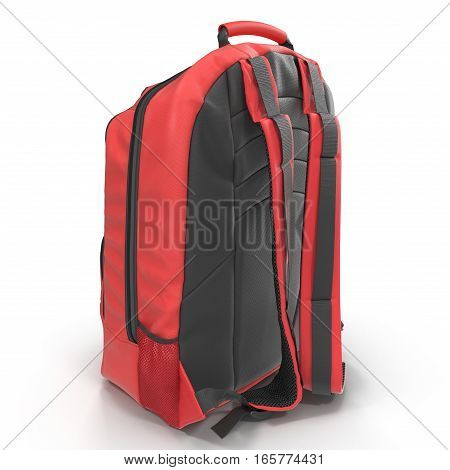 Red school backpack isolated on white background.Sport travel rucksack closeup. 3D illustration