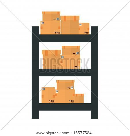 shelves with carton boxes over white background. colorful design. vector illustration