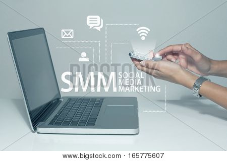 Social media marketing business concept with laptop