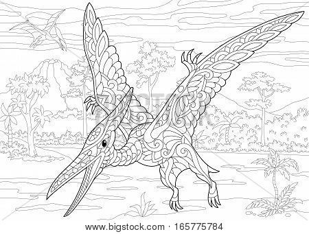 Stylized pterodactyl dinosaur pterosaur of the late Jurassic period. Freehand sketch for adult anti stress coloring book page with doodle and zentangle elements.