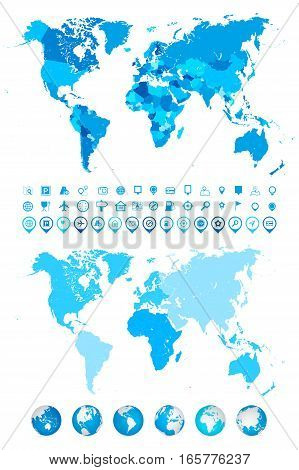 World Map Globes Continents and navigation icons. Highly detailed vector illustration of World Map globes continents and navigation icons.