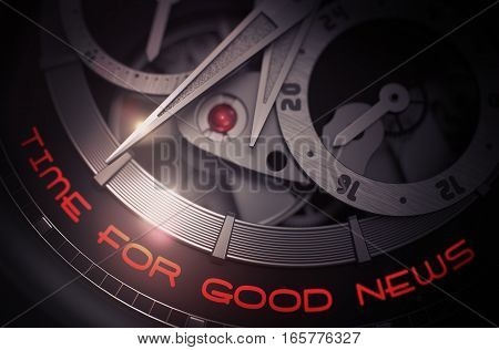 Time For Good News on the Old Pocket Watch Detail, Chronograph Close Up. Time For Good News - Black and White Close-Up of Watch Mechanism. Business Concept with Lens Flare. 3D Rendering.