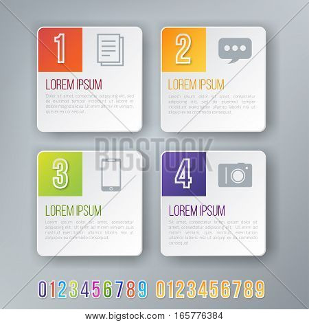 Rectangle Style Colored Bright Infographics Vector Numbers Set for Options. Template for brochure, business charts, web design and posters