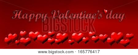 red hearts in red background with text happy Valentine's day