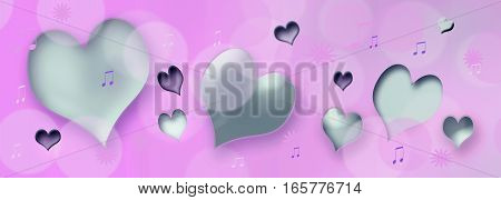 hearts and music notes on pink background