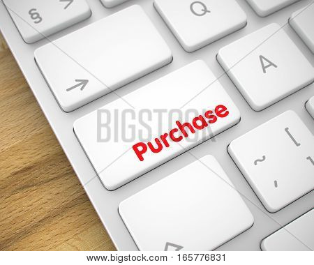 Online Service Concept with Slim Aluminum Enter White Keypad on the Keyboard: Purchase. Modern Computer Keyboard with Purchase White Key. 3D Illustration.