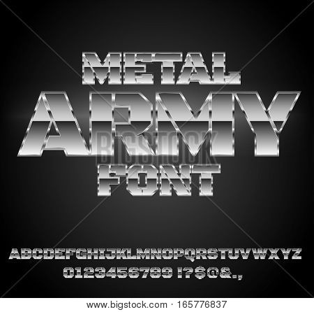 Military Army Sci-Fi Movies Style Chrome Typeface in 80s Retro Futurism style. Vector font