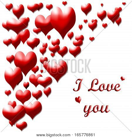 red hearts on white background with text I love you
