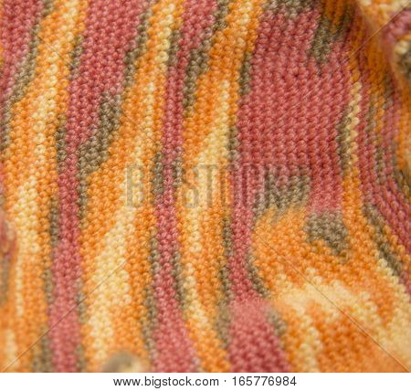 Color Sweater Knitted In Manual Photographed In Close-up.