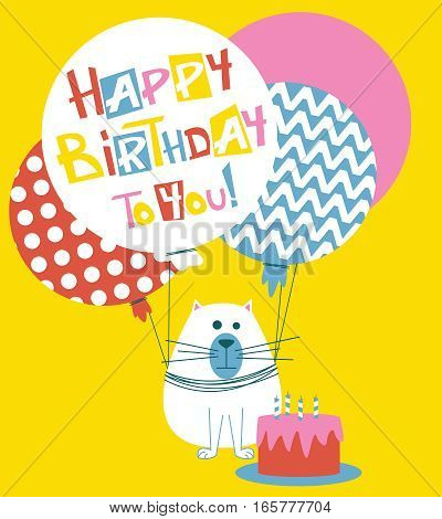 Vector Happy Birthday greeting card with cats and lettering