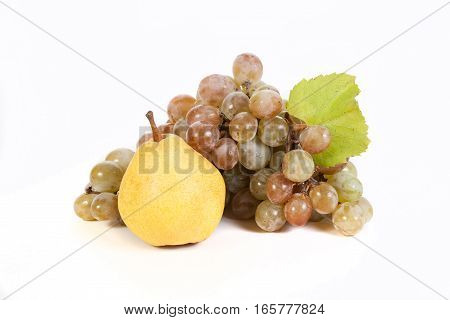 grapes & fruits isolated on white background