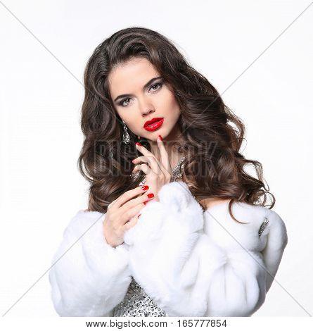 Beautiful Brunette Girl In White Fur Coat. Winter Fashion Beauty Portrait. Attractive Woman Model Wi