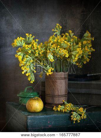 Still life of wild flowers in vase