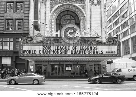 Chicago, Usa - October 15, 2016: Exterior Of The Chicago Theater. The Building Was Added To The Nati