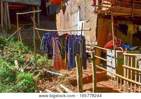 Clothes Hanging To Dry In Thailand Kayan Village