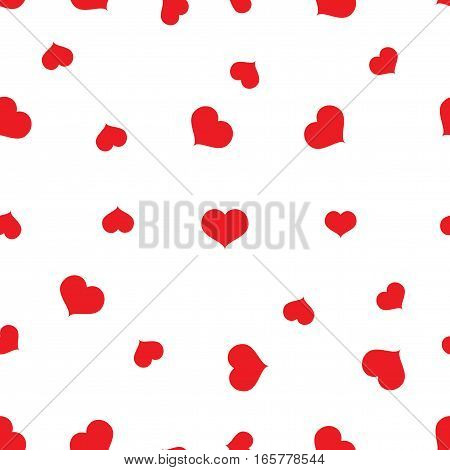Seamless red hearts pattern on white background vector, eps 10
