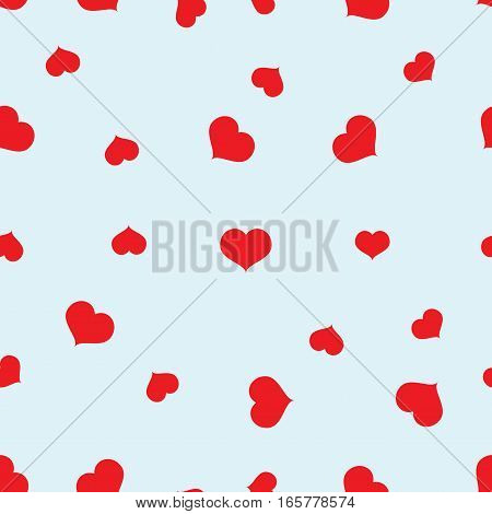 Seamless red hearts pattern on blue background vector, eps 10