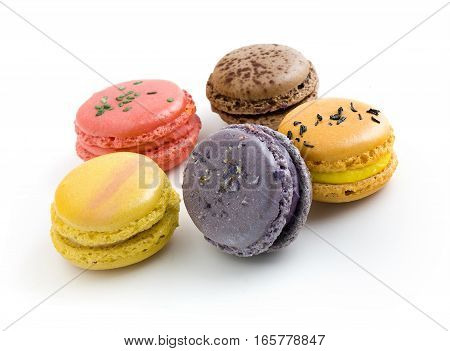 Assorted Multi Flavoured Macaroons Isolated