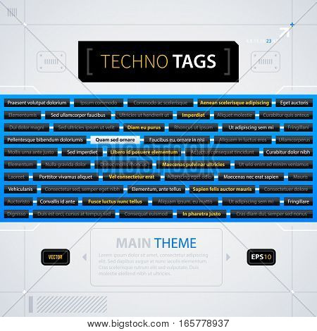 Modern Web Design Template With Tag Cloud. Futuristic Techno Business Style. Useful For Annual Repor