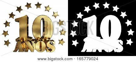 Golden digit ten and the word of the year decorated with stars. Translated from the Spanish. 3D illustration