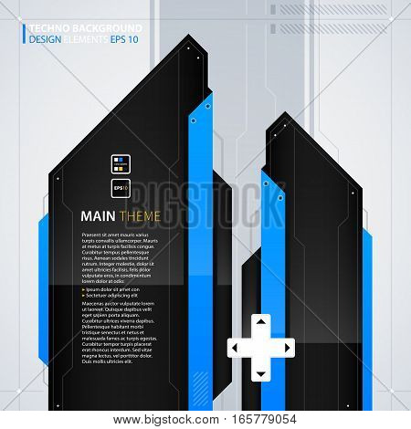 Modern Text Background Template. Futuristic Techno Business Style. Useful For Annual Reports, Presen