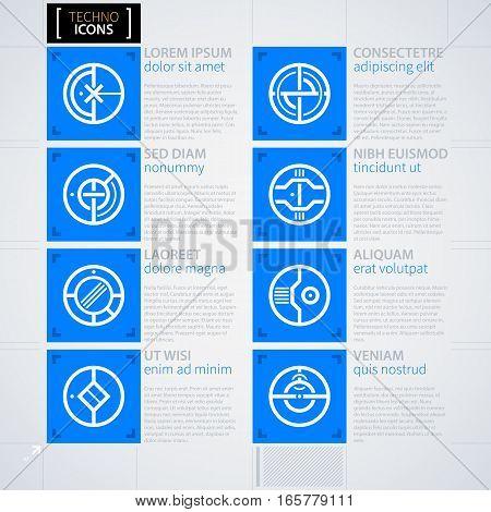 Set Of Futuristic Icons. Futuristic Techno Business Style. Useful For Annual Reports, Presentations