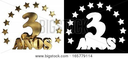 Golden digit three and the word of the year decorated with stars. Translated from the Spanish. 3D illustration