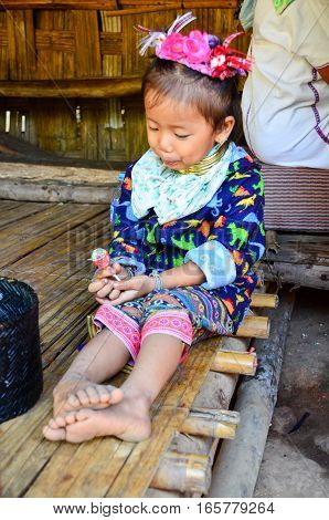Kayan Girl In A Long-neck Hill Village In Thailand