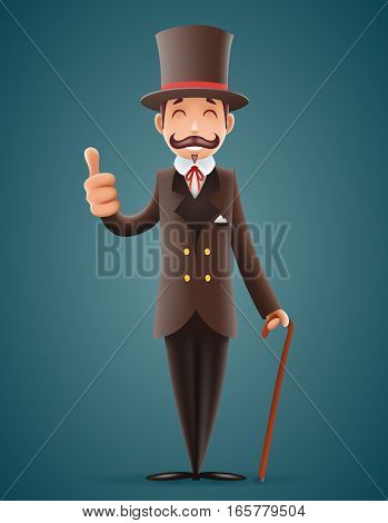 3d Gentleman Victorian Business Cartoon Character Icon Isolated Background Retro Vintage Great Britain Design Vector Illustration