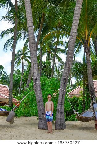 Boy, Palm Trees, And  Hammocs On Beautiful Tropical Beach