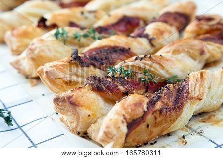 Bacon Sticks Pastry With Black Sesame And Thyme
