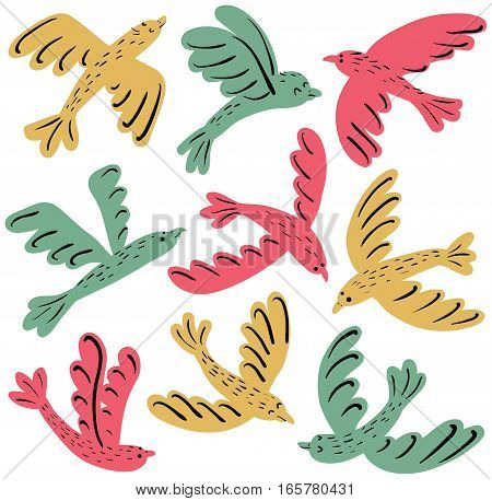 Collection of vector cute flying birds isolated on white. Cartoon set with colorful flat animals.