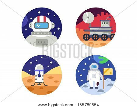 Cosmonaut explores space. Set of icons pixel perfect. Vector illustration. Icon size - 128 px