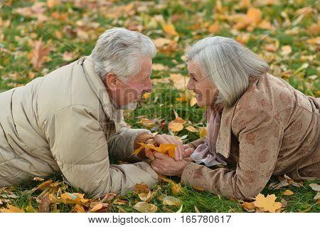 Portrait of happy cenior couple in autumn park