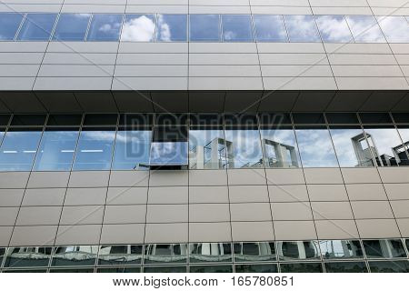 MILAN, ITALY - AUGUST 9, 2016: Milan (Lombardy Italy): modern office building in the new Portello area hosting the headquarter of A.C. Milan historic football club