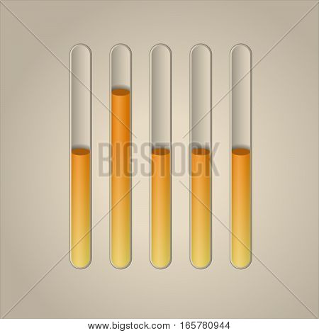 Vector loading bar. Vector progress symbols. Collection of preloader illustrations. Medical test tube.