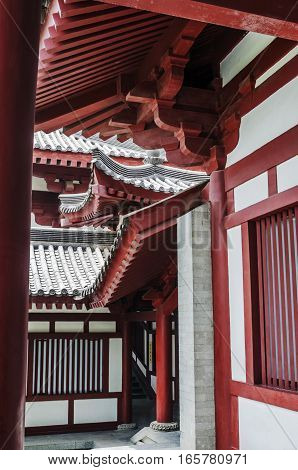China Beijing. Imperial Palace known as the Forbidden City. One of the halls of the palace. The geometry of Chinese architecture.