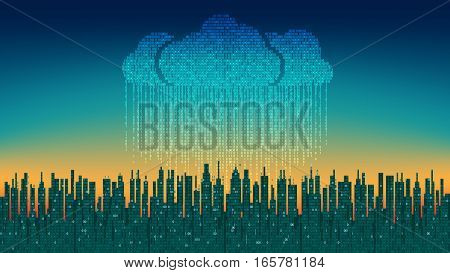 The city online. Abstract futuristic digital city, binary rain, cloud connected, high-tech background. Network digital technology concept cloud service