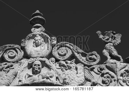 Avila (Castilla y Leon Spain): exterior of the medieval cathedral detail. Black and white