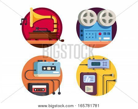 Music player vintage retro icons. Reel tape recorder and gramophone pixel perfect. Vector illustration icons size -128px