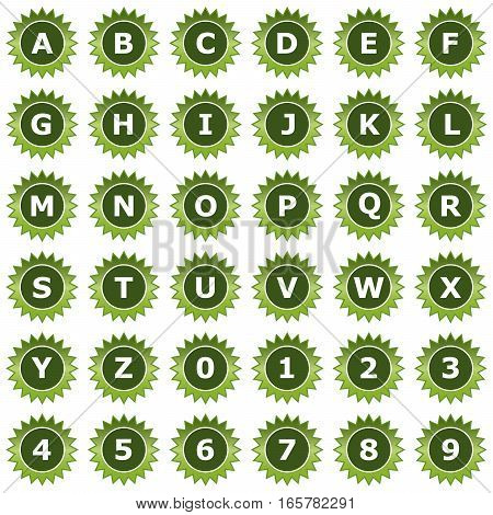 Collection of 36 isolated green icons on white background - alphabet (letters) and numerals