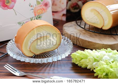 Delicious Creamy Swiss Roll On Glass Plate