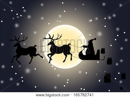 Santa Claus riding on reindeer sledge, giving gifts, vector particles illustrations.