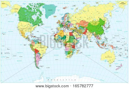 Large detailed political World Map and water objects. Highly detailed vector illustration of World Map.