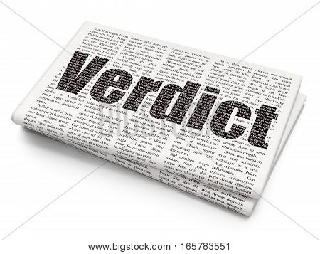 Law concept: Pixelated black text Verdict on Newspaper background, 3D rendering