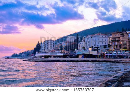 Town Of Opatija Waterfront Sunset View