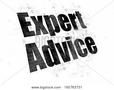Law concept: Pixelated black text Expert Advice on Digital background