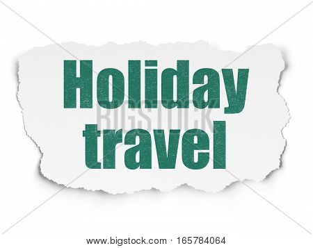 Tourism concept: Painted green text Holiday Travel on Torn Paper background with  Tag Cloud